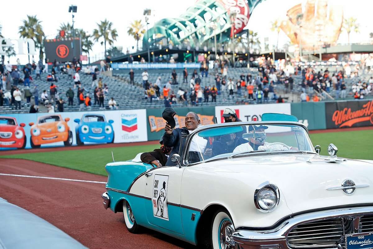 San Francisco Giants' Hall of Famer Willie Mays rides in a convertible as the Giants celebrate his 90th birthday at Oracle Park in San Francisco, Calif., on Friday, May 7, 2021.
