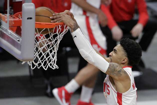 Houston Rockets' Kenyon Martin Jr. dunks during the first half of the team's NBA basketball game against the Milwaukee Bucks on Friday, May 7, 2021, in Milwaukee. (AP Photo/Aaron Gash) Photo: Aaron Gash/Associated Press / Copyright 2021 The Associated Press. All rights reserved.
