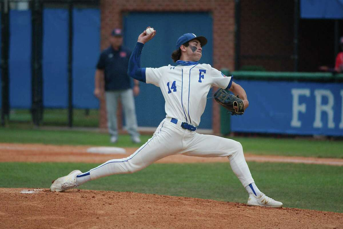 Friendswood's Jacob Rogers (14) threw a two-hitter and struck out seven in the Mustangs' 5-0 playoff win over Nederland Friday night.