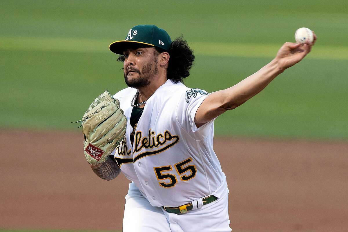 Oakland, CA - May 07: Sean Manaea #55 of the Oakland Athletics pitches against the Tampa Bay Rays during the second inning at RingCentral Coliseum on May 7, 2021 in Oakland, California. (Photo by Jason O. Watson/Getty Images)