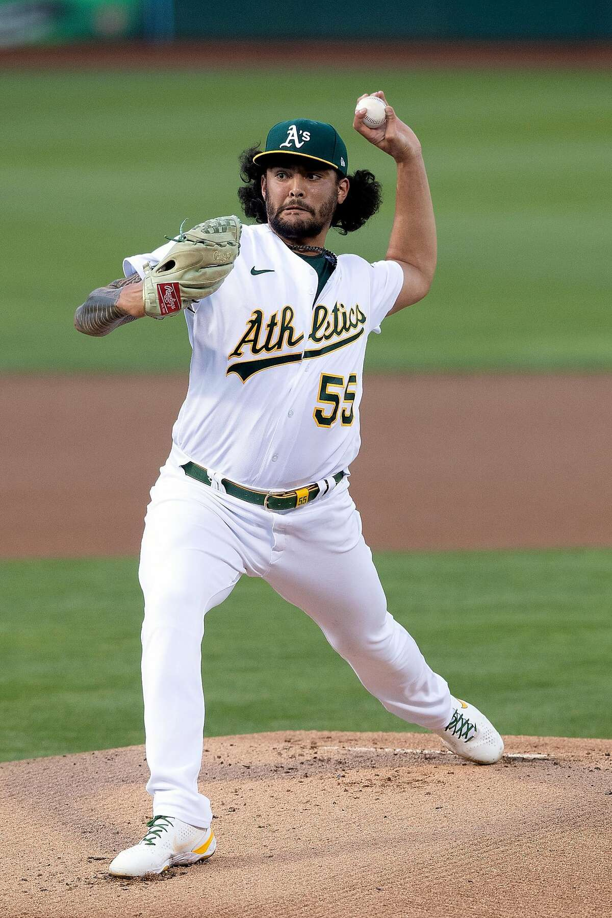 Sean Manaea took a no-hit bid into the eighth, but Mike Brosseau's double ended it.