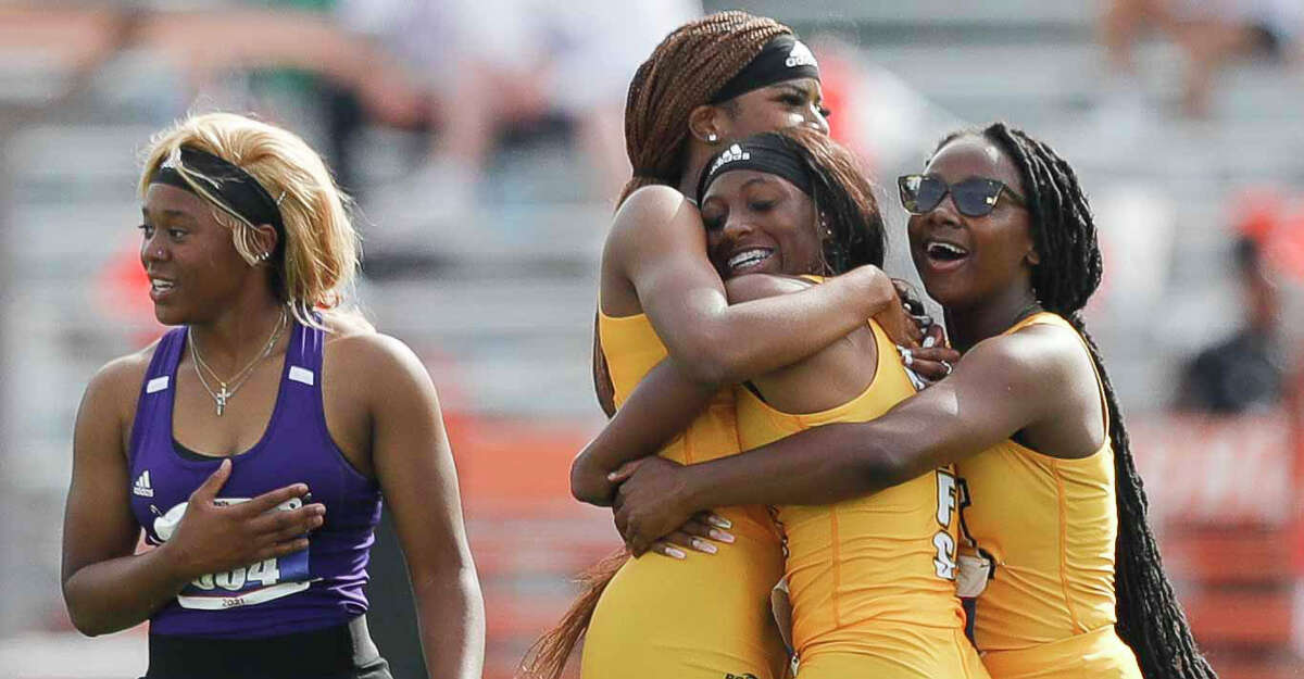 Fort Bend Marshall reacts after winning the girls 4x100-meter relay during the Class 5A UIL Track and Field Championships at Mike A. Myers Stadium, Friday, May 7, 2021, in Austin.
