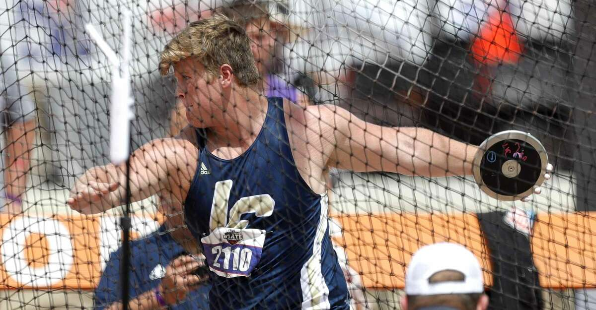 Chance Niesner of Lake Creek competes in the boys discus during the Class 5A UIL Track and Field Championships at Mike A. Myers Stadium, Friday, May 7, 2021, in Austin.