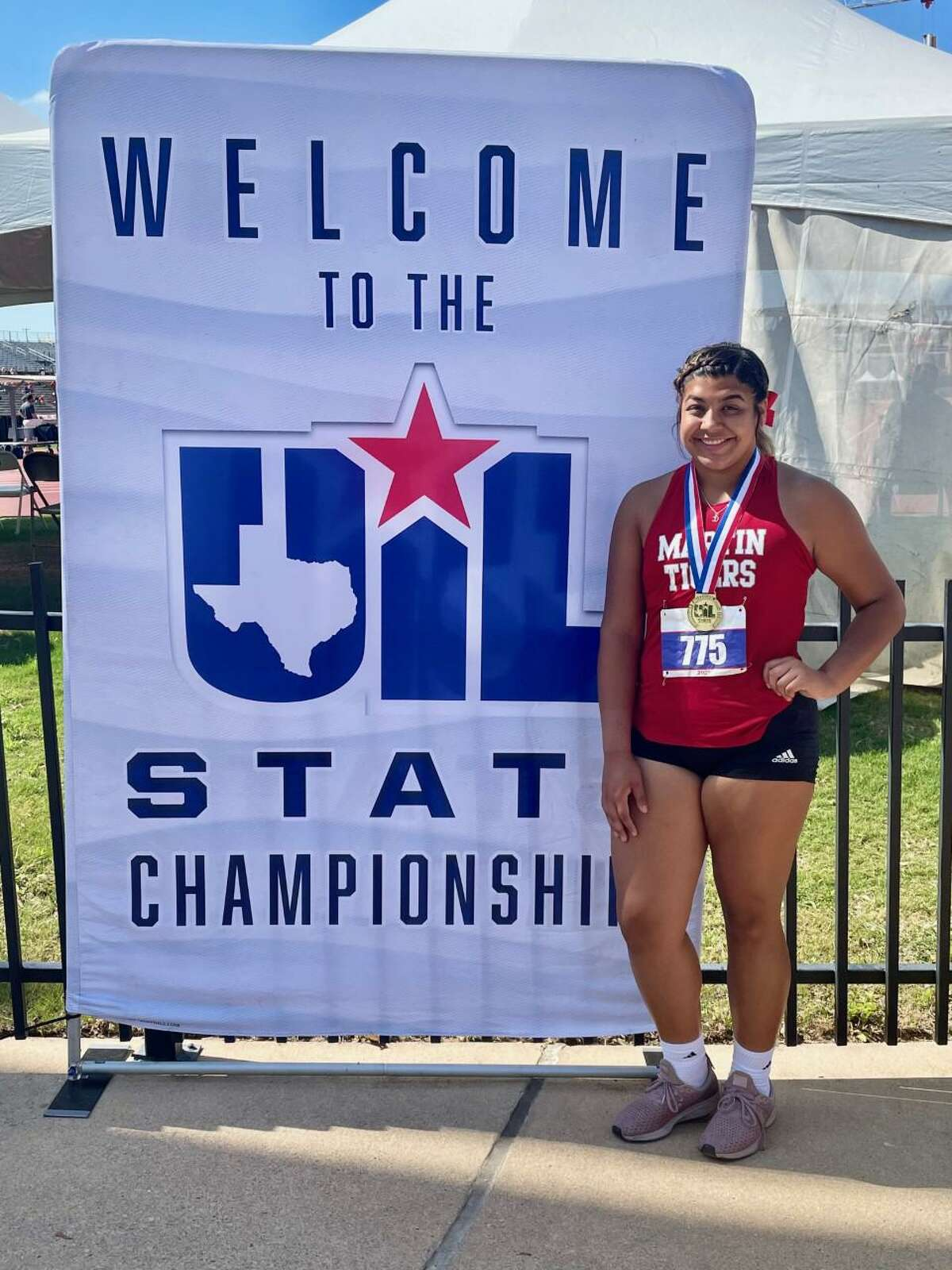 Melanie Duron broke her city record with a throw of 45-0 in the shot put Friday to win the state title.