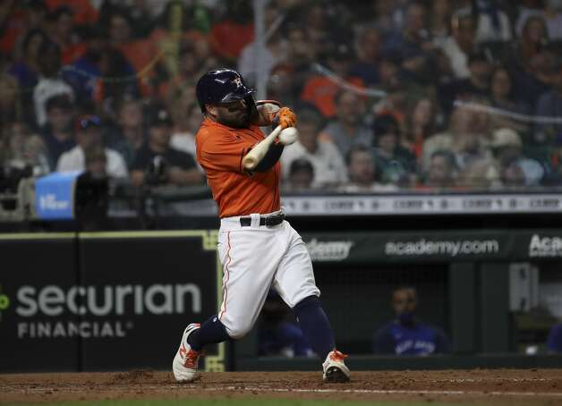 Houston Astros second baseman Jose Altuve (27) singles during the sixth inning of an MLB game Friday, May 7, 2021, at Minute Maid Park in Houston. Photo: Jon Shapley/Staff Photographer / © 2021 Houston Chronicle