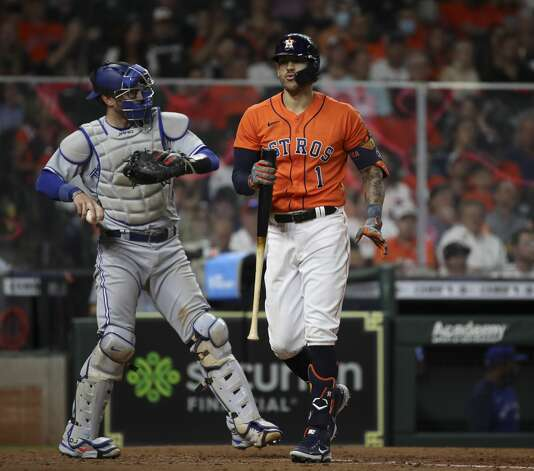 Houston Astros shortstop Carlos Correa (1) strikes out during the seventh inning of an MLB game Friday, May 7, 2021, at Minute Maid Park in Houston. Photo: Jon Shapley/Staff Photographer / © 2021 Houston Chronicle
