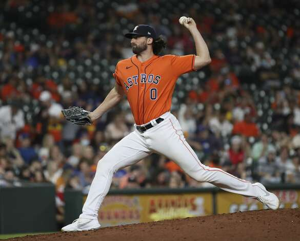 Houston Astros starting pitcher Kent Emanuel (0) pitches during the eighth inning of an MLB game Friday, May 7, 2021, at Minute Maid Park in Houston. Photo: Jon Shapley/Staff Photographer / © 2021 Houston Chronicle