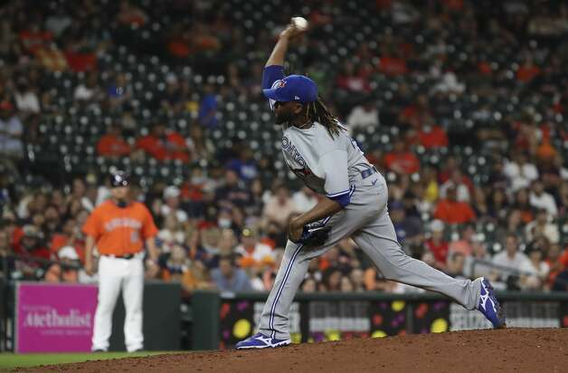 Toronto Blue Jays relief pitcher Anthony Kay (47) pitches during the eighth inning of an MLB game Friday, May 7, 2021, at Minute Maid Park in Houston. Photo: Jon Shapley/Staff Photographer / © 2021 Houston Chronicle