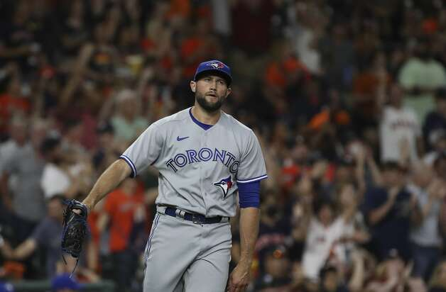 Toronto Blue Jays relief pitcher Tim Mayza (58) reacts after Houston Astros first baseman Yuli Gurriel (10) hit a home run during the fifth inning of an MLB game Friday, May 7, 2021, at Minute Maid Park in Houston. Photo: Jon Shapley/Staff Photographer / © 2021 Houston Chronicle