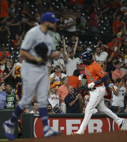 Houston Astros designated hitter Yordan Alvarez (44) rounds the bases on a home run by first baseman Yuli Gurriel (10) during the fifth inning of an MLB game Friday, May 7, 2021, at Minute Maid Park in Houston. Photo: Jon Shapley/Staff Photographer / © 2021 Houston Chronicle