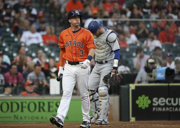 Houston Astros center fielder Myles Straw (3) reacts after striking out during the second inning of an MLB game Friday, May 7, 2021, at Minute Maid Park in Houston. Photo: Jon Shapley/Staff Photographer / © 2021 Houston Chronicle