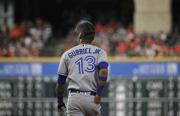 Toronto Blue Jays left fielder Lourdes Gurriel Jr. (13) walks to the outfield during the fourth inning of an MLB game Friday, May 7, 2021, at Minute Maid Park in Houston. Photo: Jon Shapley/Staff Photographer / © 2021 Houston Chronicle