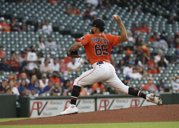 Houston Astros starting pitcher Jose Urquidy (65) pitches during the first inning of an MLB game on Friday, May 7, 2021, at Minute Maid Park in Houston. Photo: Jon Shapley/Staff Photographer / © 2021 Houston Chronicle