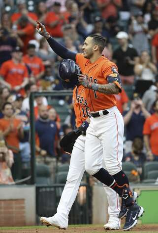 Houston Astros shortstop Carlos Correa (1) celebrates after hitting a home run during the second inning of an MLB game Friday, May 7, 2021, at Minute Maid Park in Houston. Photo: Jon Shapley/Staff Photographer / © 2021 Houston Chronicle