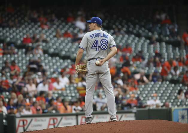 Toronto Blue Jays starting pitcher Ross Stripling (48) pitches during the first inning of an MLB game on Friday, May 7, 2021, at Minute Maid Park in Houston. Photo: Jon Shapley/Staff Photographer / © 2021 Houston Chronicle