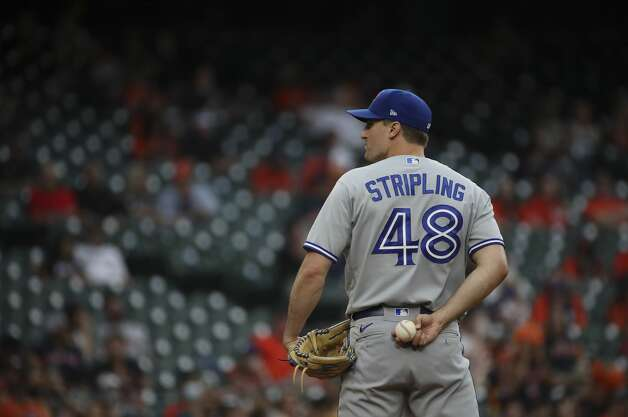 Toronto Blue Jays starting pitcher Ross Stripling (48) during the second inning of an MLB game Friday, May 7, 2021, at Minute Maid Park in Houston. Photo: Jon Shapley/Staff Photographer / © 2021 Houston Chronicle