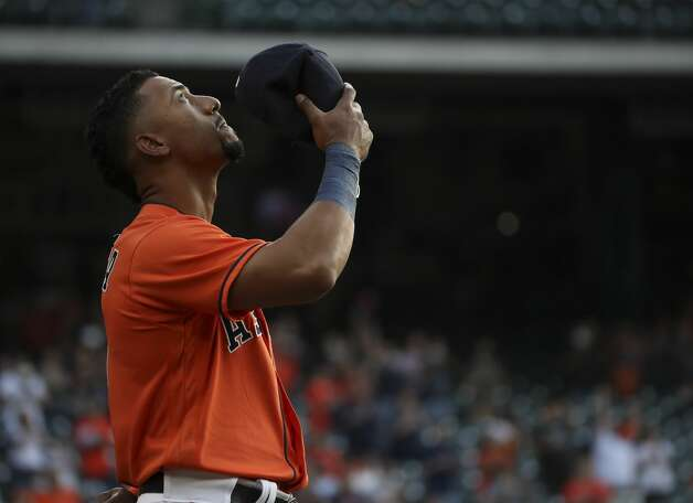 Houston Astros second baseman Robel Garcia (9) listens to the national anthem before an MLB game between the Houston Astros and the Toronto Blue Jays on Friday, May 7, 2021, at Minute Maid Park in Houston. Photo: Jon Shapley/Staff Photographer / © 2021 Houston Chronicle