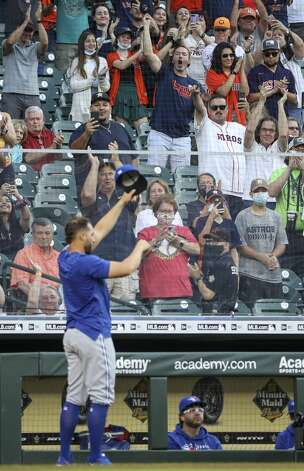 Former Houston Astros outfielder George Springer receives a standing ovation from fans before an MLB game between the Houston Astros and the Toronto Blue Jays on Friday, May 7, 2021, at Minute Maid Park in Houston. Photo: Jon Shapley/Staff Photographer / © 2021 Houston Chronicle