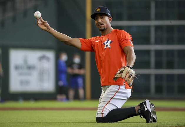 Houston Astros second baseman Robel Garcia (9) warms up during Houston Astros batting practice before an MLB game against the Toronto Blue Jays on Friday, May 7, 2021, at Minute Maid Park in Houston. Photo: Jon Shapley/Staff Photographer / © 2021 Houston Chronicle
