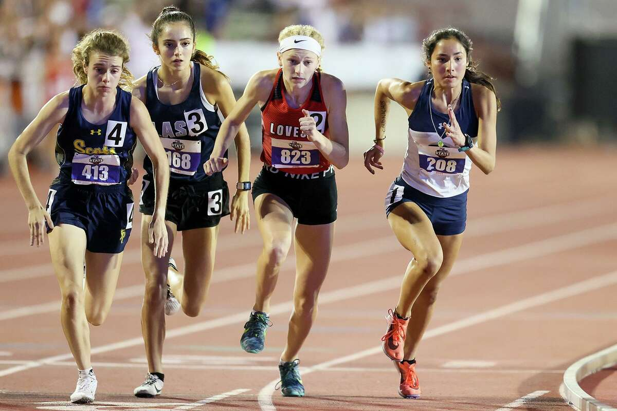 Boerne Champion's Anastacia Gonzales, right, takes off from the starting line of the 5A girls 1600-meter run in the UIL state track and field championships at Mike A. Myers Stadium in Austin on Friday, May 7, 2021. Gonzales won the event with a time of 4:49.11.