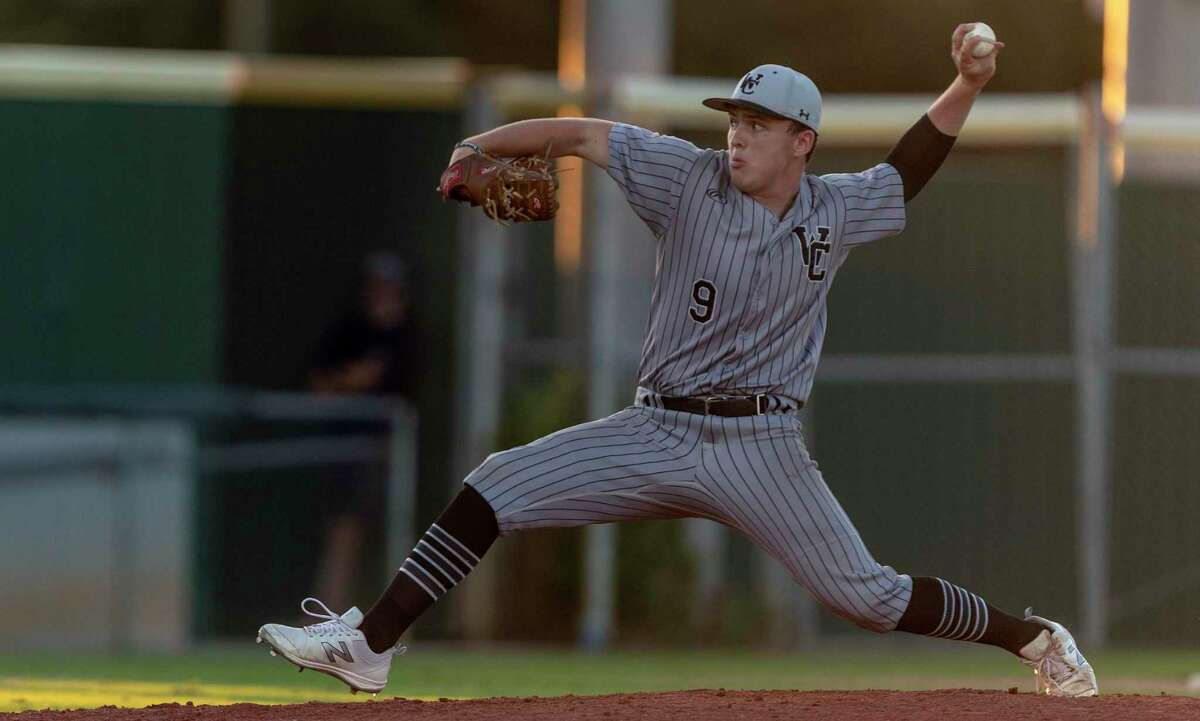 Winston Churchill pitcher Alex Honeyman delivers the ball Friday night May 7, 2021 at Jake Inselmann Baseball Field #1 at the NISD Don Hardin Athletic Complex during the Chargers' Class 6A single game playoff against East Central. Churchill won 4-3.