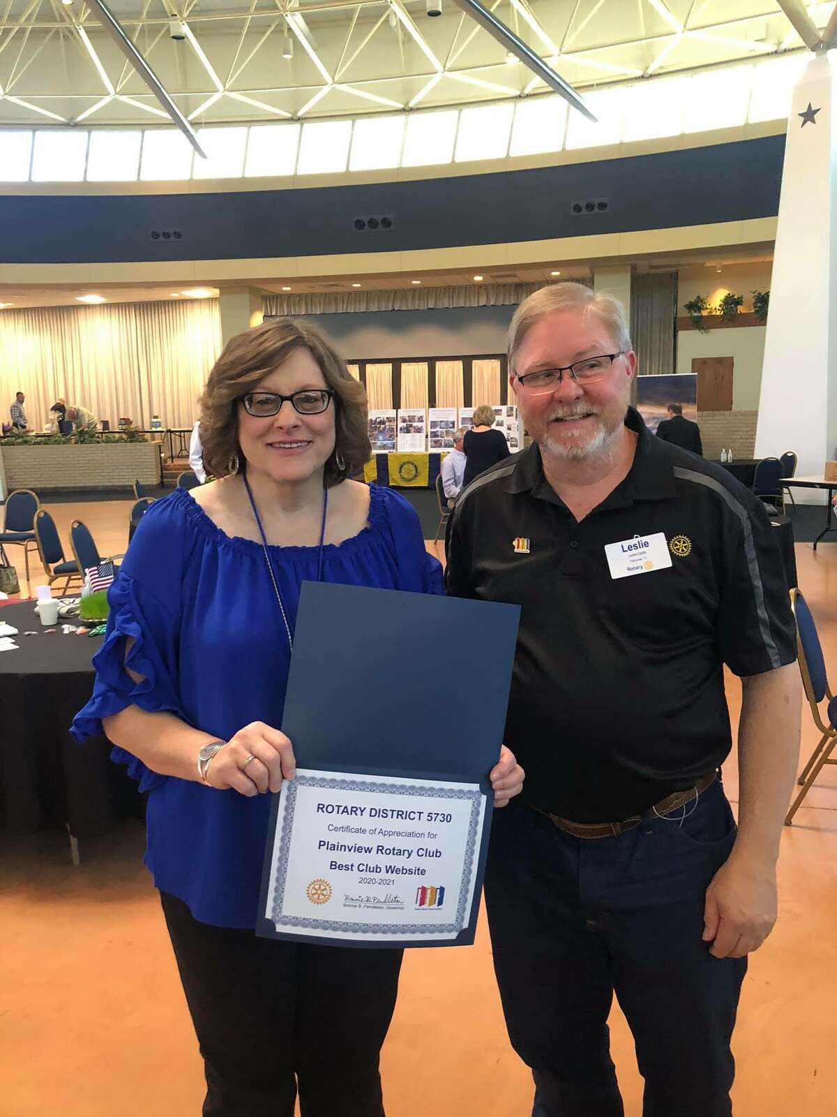 Plainview Rotary Club President Deana Sageser stands with Rotary Assistant Governor Leslie Gattis after a special recognition at the District Rotary Conference. The Plainview club received recognition as the best social media presence in the district.