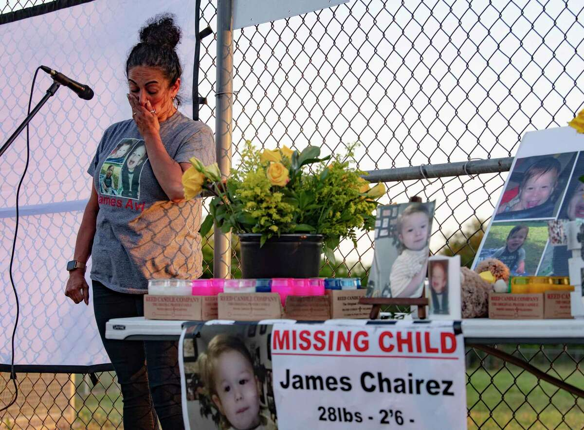 Mariesol Gomez, James' great-aunt, gets emotional at a vigil Friday, May 7, 2021, at Resurrection of the Lord Catholic church.