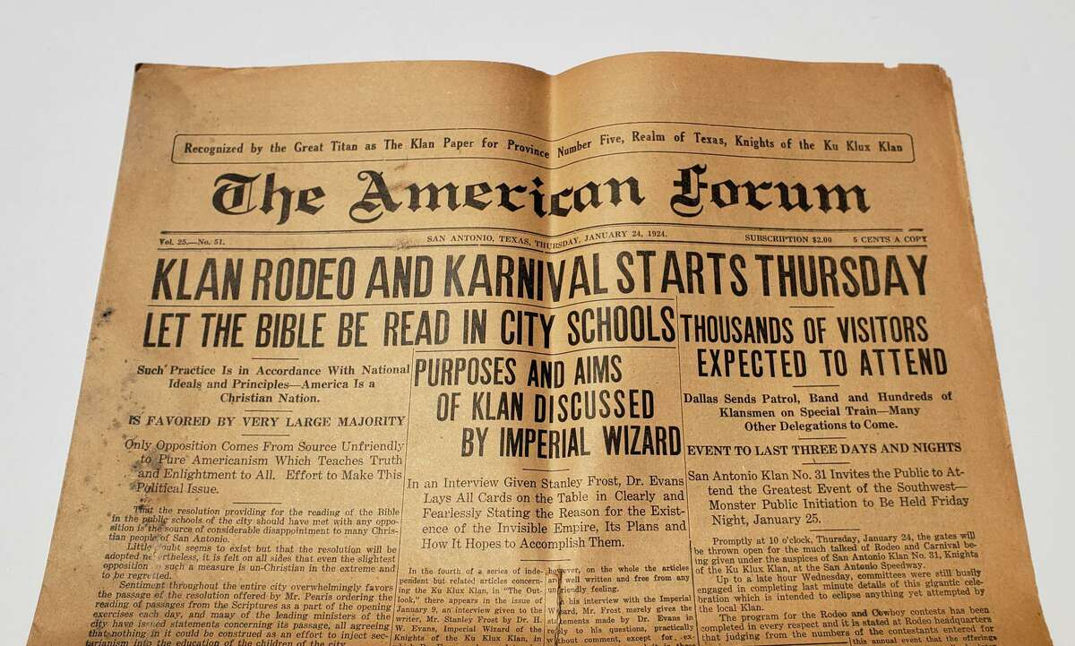 Shown is the front page, top of fold, of the Jan. 24, 1924, edition of the American Forum, the weekly newspaper of the Ku Klux Klan in San Antonio. The American Forum was a short-lived newspaper published from 1923 to 1924 by the Ku Klux Klan in San Antonio to promote the organization's views and events.