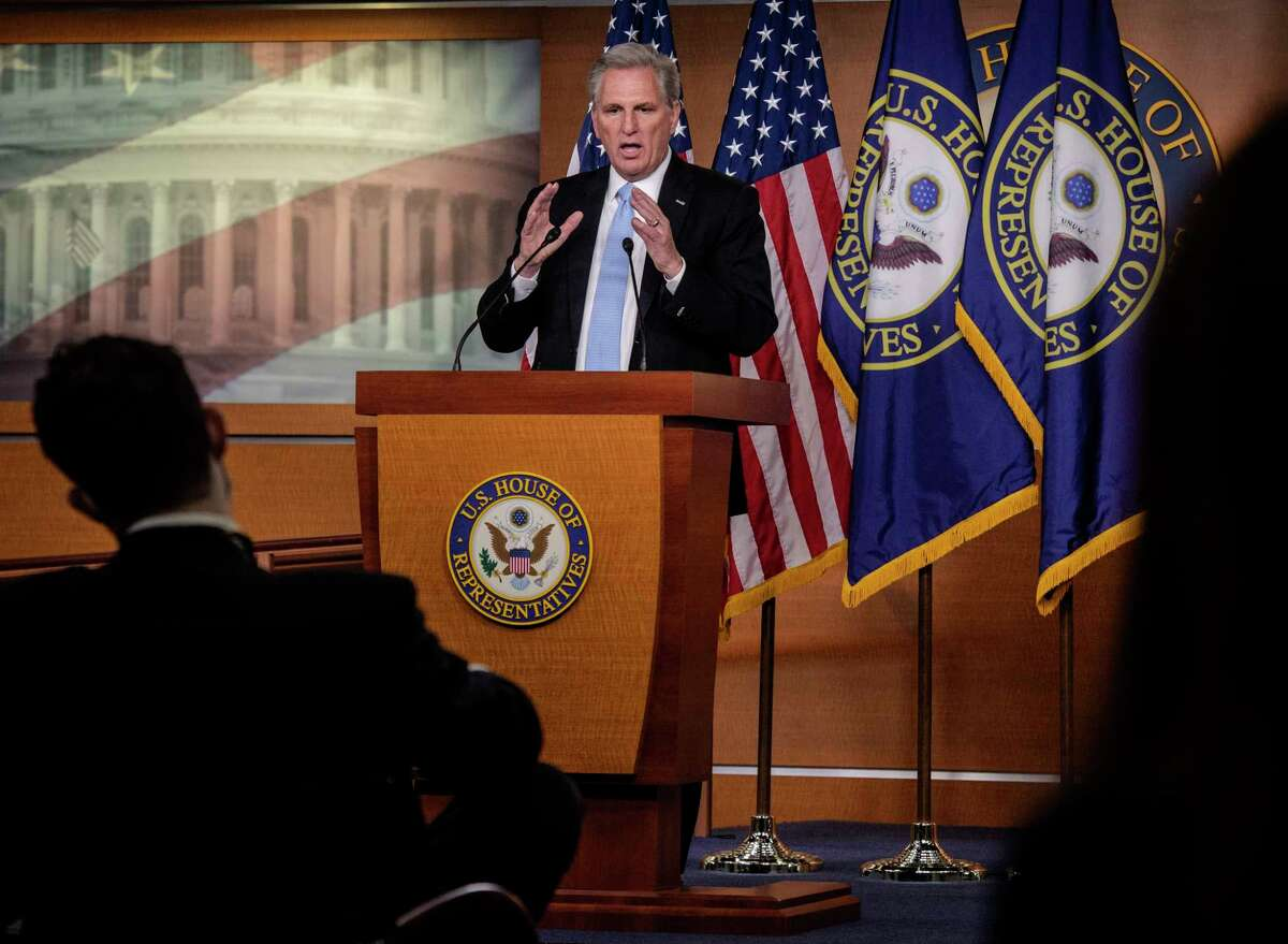 House Minority Leader Kevin McCarthy, R-Calif., speaks at his news conference on March 11.