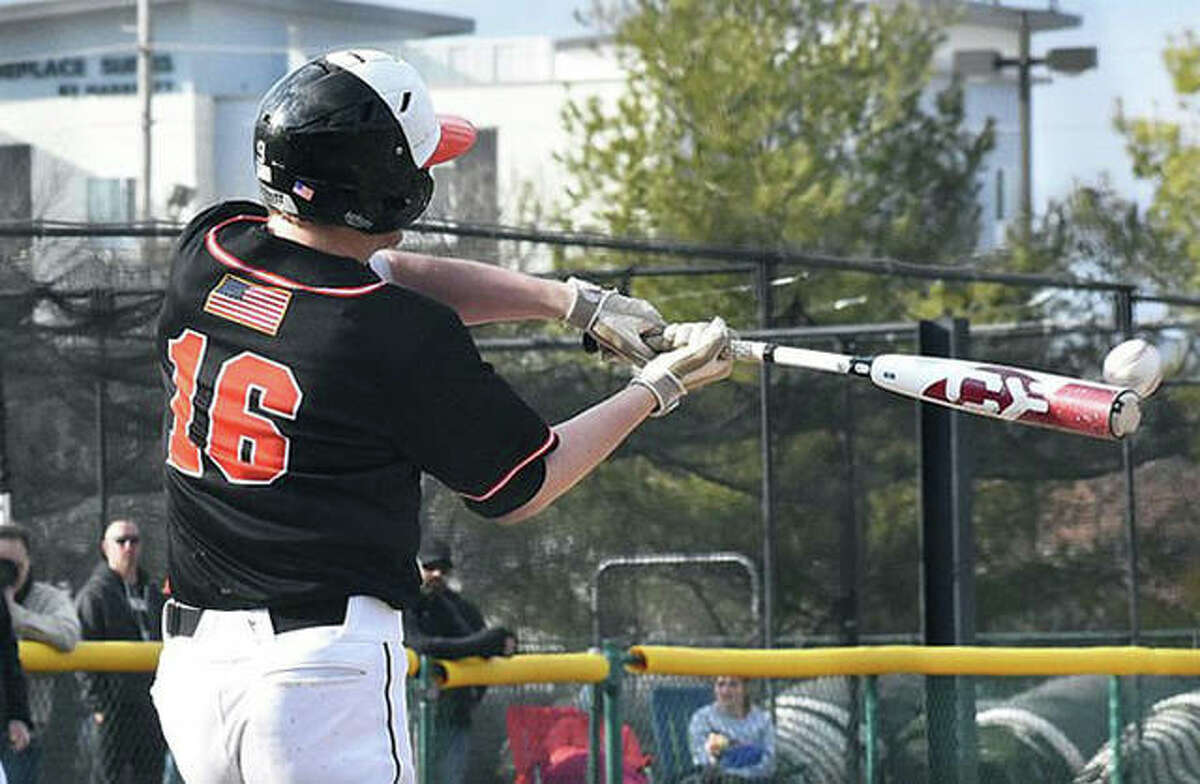 Evan Funkhouser had three hits and drove in two runs in Edwardsville's 9-0 win at Jersey on Friday.