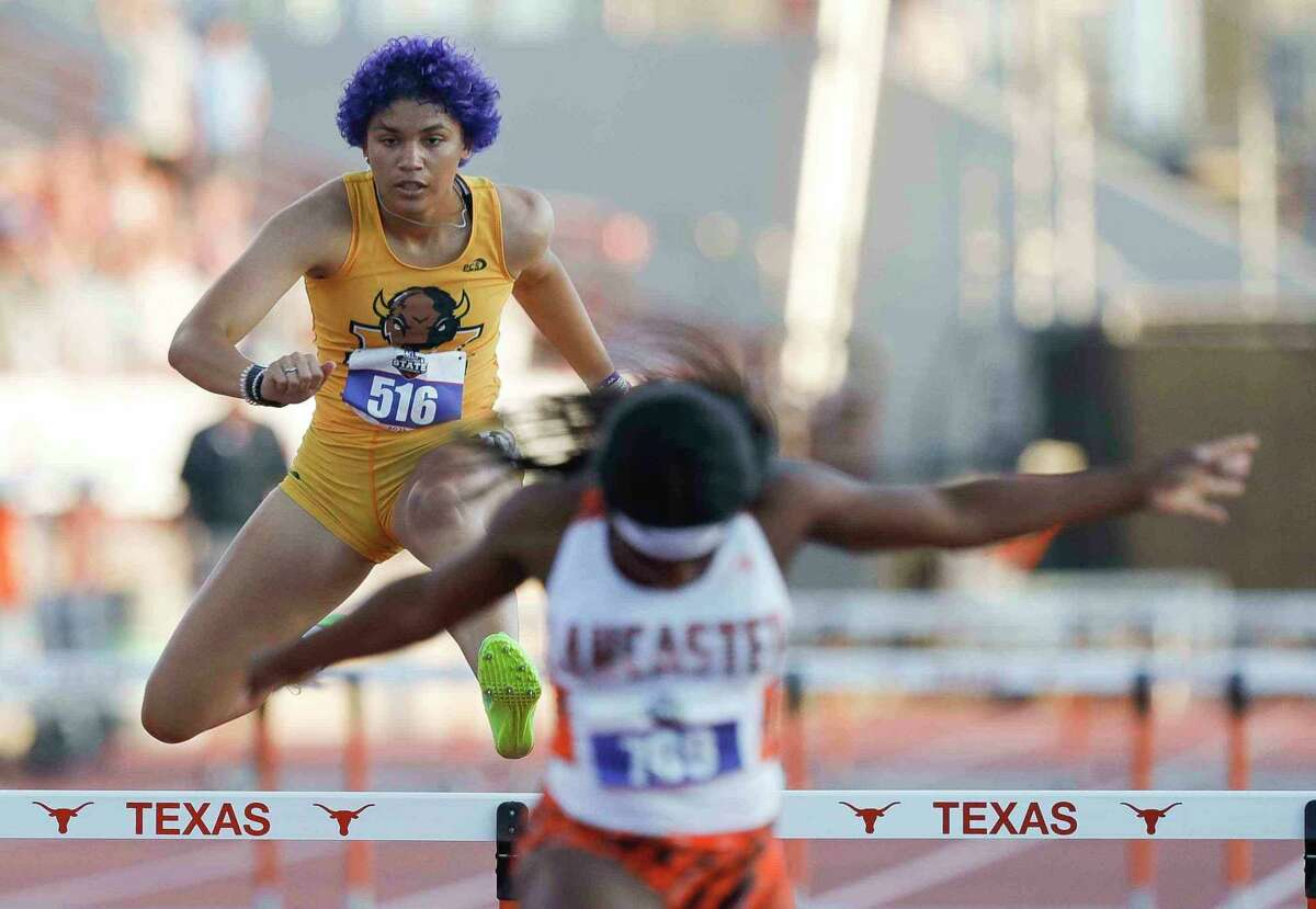 Desirae Roberts of Fort Bend Marshall competes in the girls 300-meter hurdles during the Class 5A UIL Track and Field Championships at Mike A. Myers Stadium, Friday, May 7, 2021, in Austin.