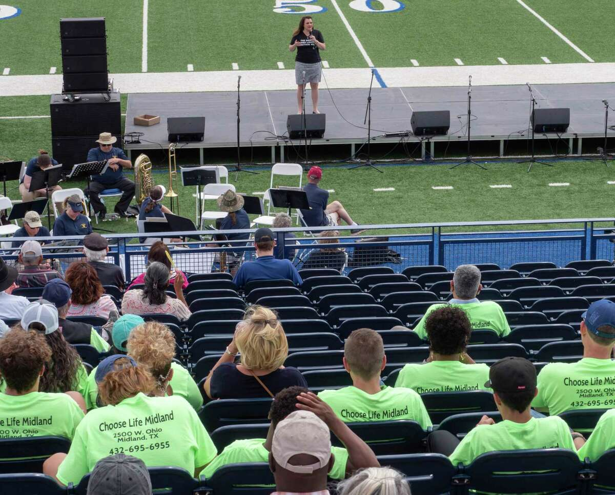 Abby Johnson, former Planned Parenthood advocate, speaks 05/08/2021 about her change in heart to now being an advocate for Pro-Life at the Celebration of Life activities at Grande Communications Stadium. Tim Fischer/Reporter-Telegram