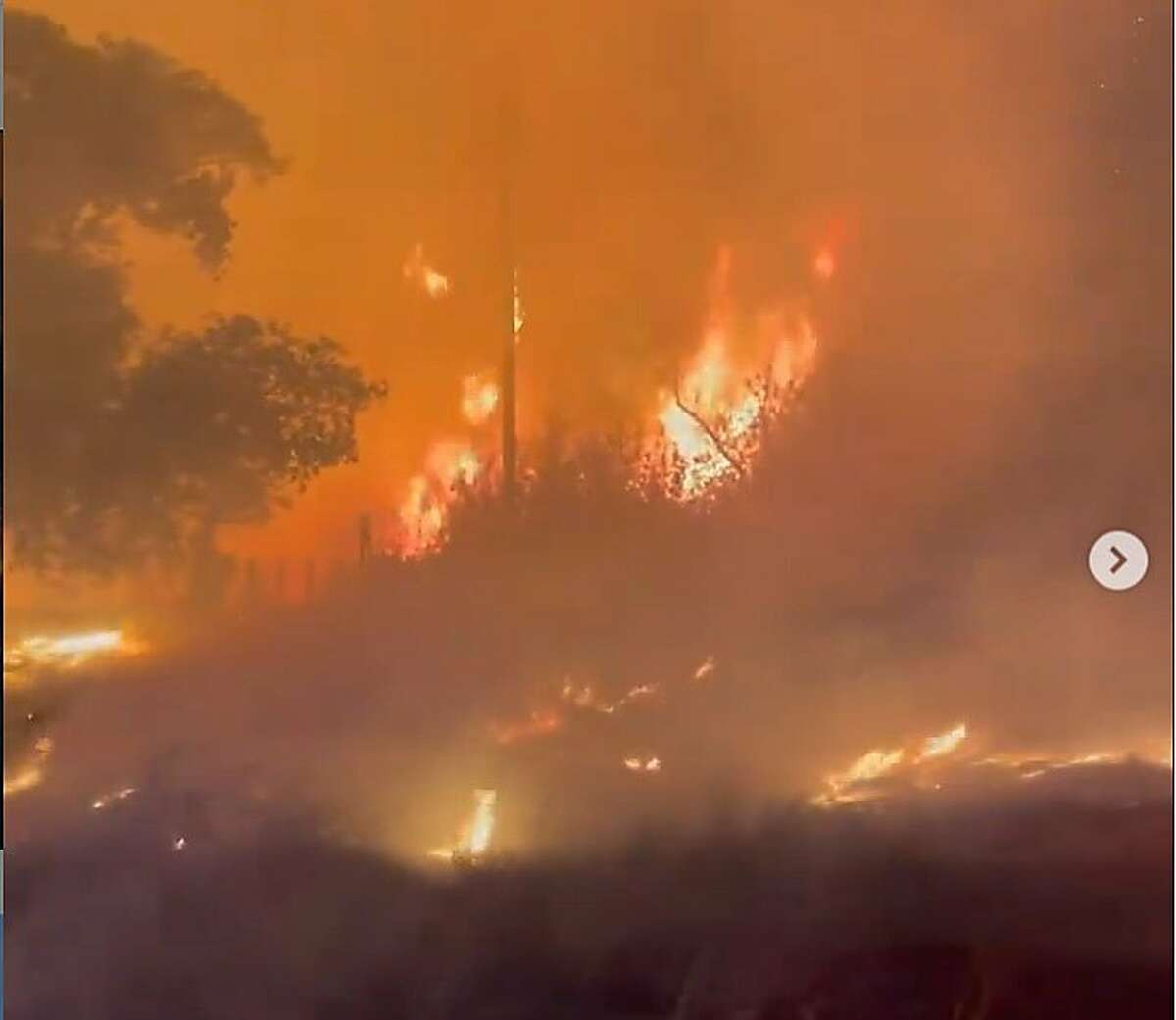Almost 90 firefighters battled a 3:30 a.m. brush fire near the Antioch Marina at 1 Marina Plaza on Thursday, May 6, 2021. This is a screenshot from a video recorded by the Contra Costa County Fire Protection District.