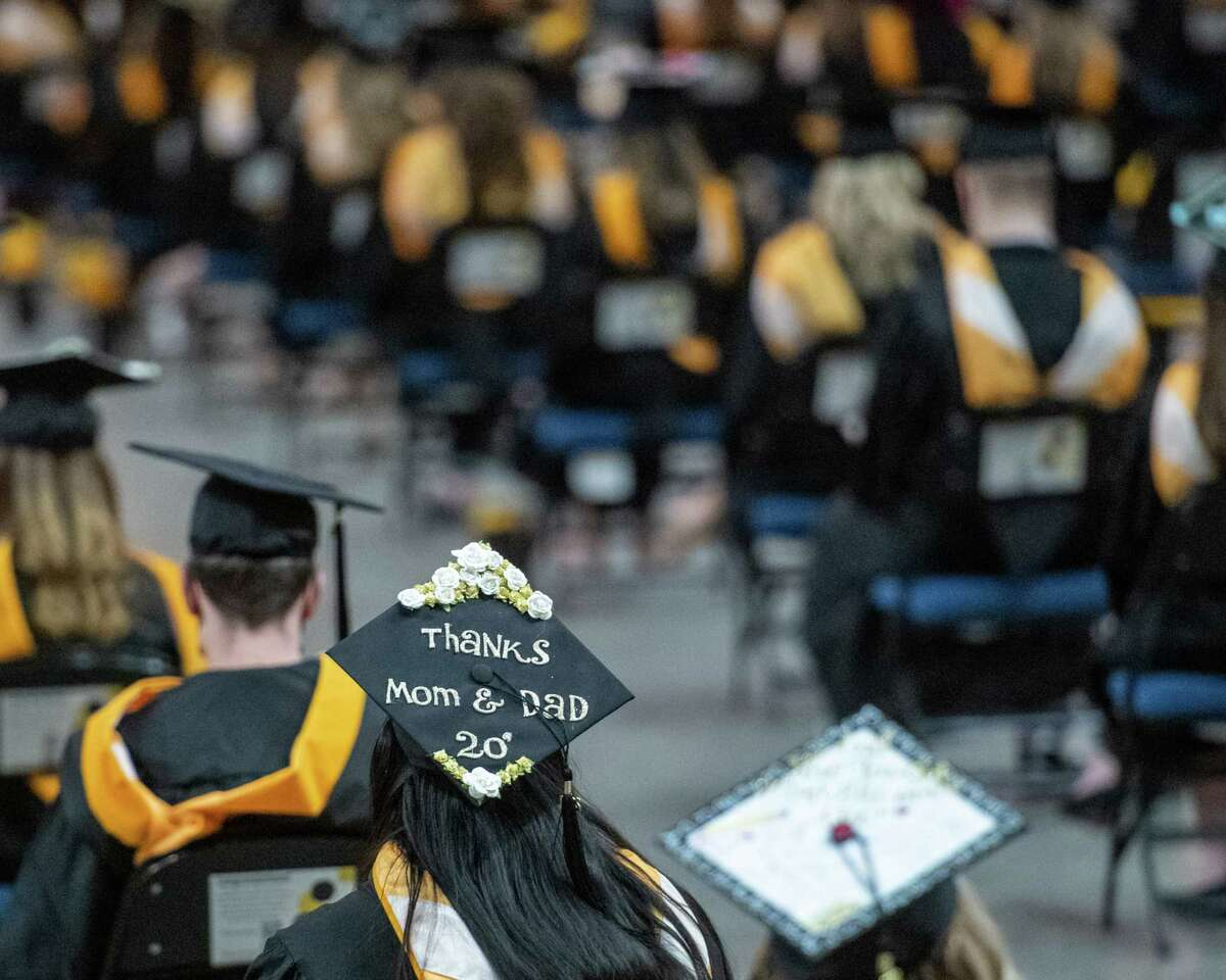 The College of Saint Rose held its graduation ceremony at the Times Union Center on Saturday, May 8, 2021. It is the first graduation ceremony at the Times Union Center since the start of the pandemic in March, 2020. (Jim Franco/Special to the Times Union)