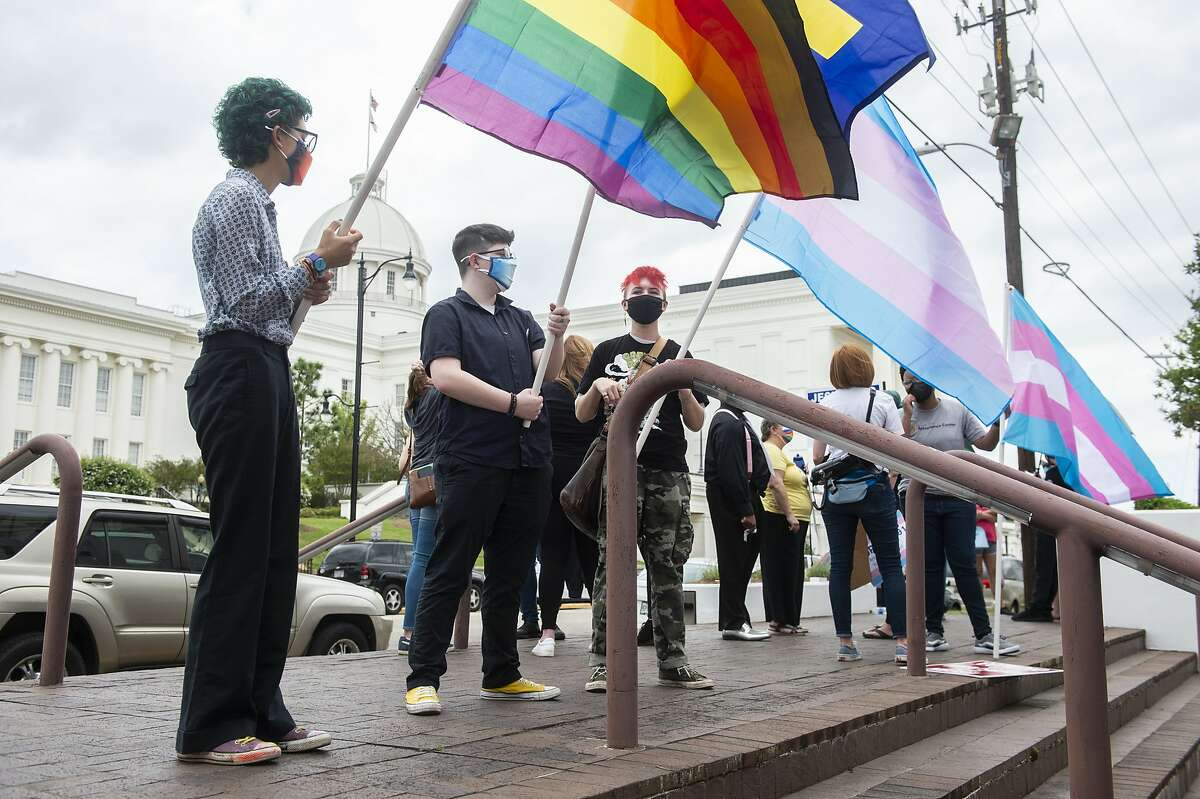 Supporters of transgender rights demonstrate outside the Alabama State House in Montgomery in March.