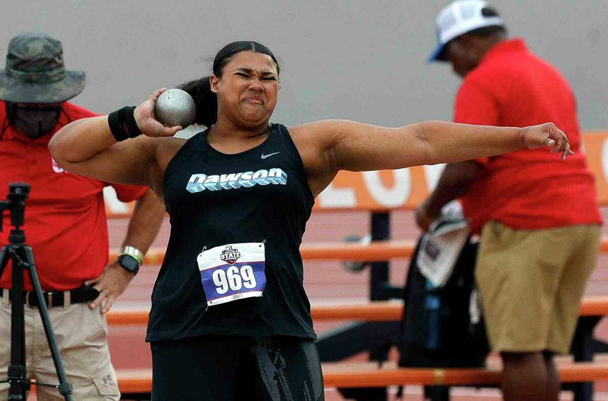 Chrystal Herpin of Dawson competes in girls' shot put during the Class 6A UIL Track and Field Championships Saturday in Austin.