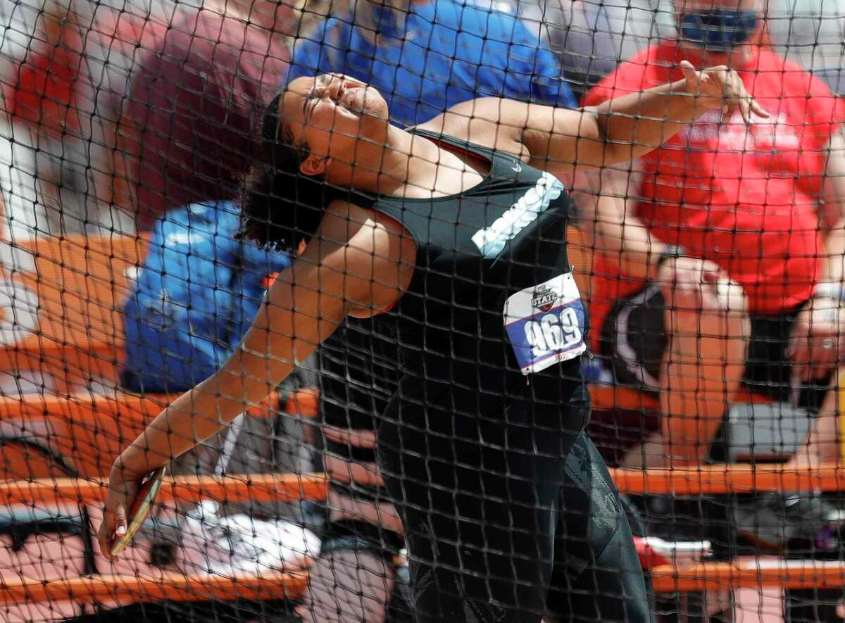 Chrystal Herpin of Dawson prepares to release the discus during the Class 6A UIL Track and Field Championships Saturday at Mike A. Myers Stadium in Austin.
