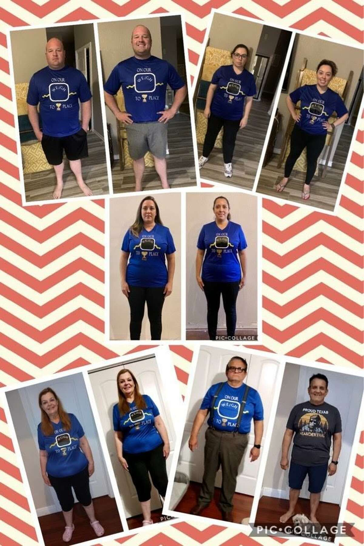Team On Our Weigh to 1st Place pictured in their before and after photos. The group won first in their district and sixth nationally in the HealthyWage Weight Loss Challenge.