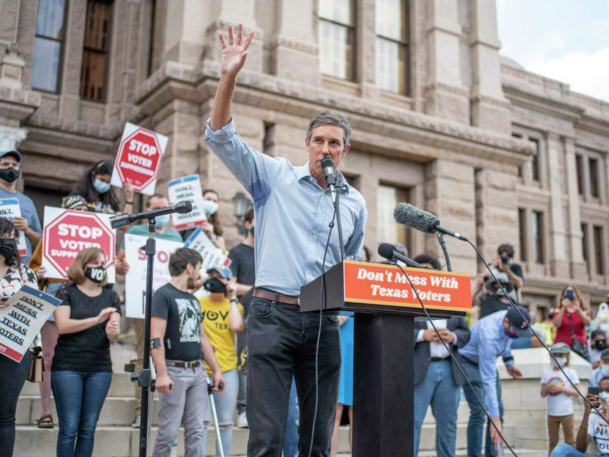 Former US Representative from El Paso Beto O'Rourke, speaks from the podium during a voting rights rally at the Texas State Capitol in Austin, Tx., U.S. on Saturday, May 8, 2021. The rally was held in response to a number of bills making their way through the Texas Legislature that critics say would restrict voting access for Texans across the state by shutting down polling places and creating barriers to voting for historically marginalized communities.