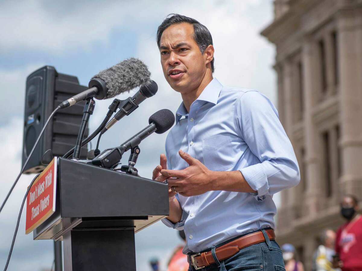 Julián Castro, former US Secretary of Housing and Urban Development under President Obama, speaks from the podium during a voting rights rally at the Texas State Capitol in Austin, Tx., U.S. on Saturday, May 8, 2021. The rally was held in response to a number of bills making their way through the Texas Legislature that critics say would restrict voting access for Texans across the state by shutting down polling places and creating barriers to voting for historically marginalized communities.