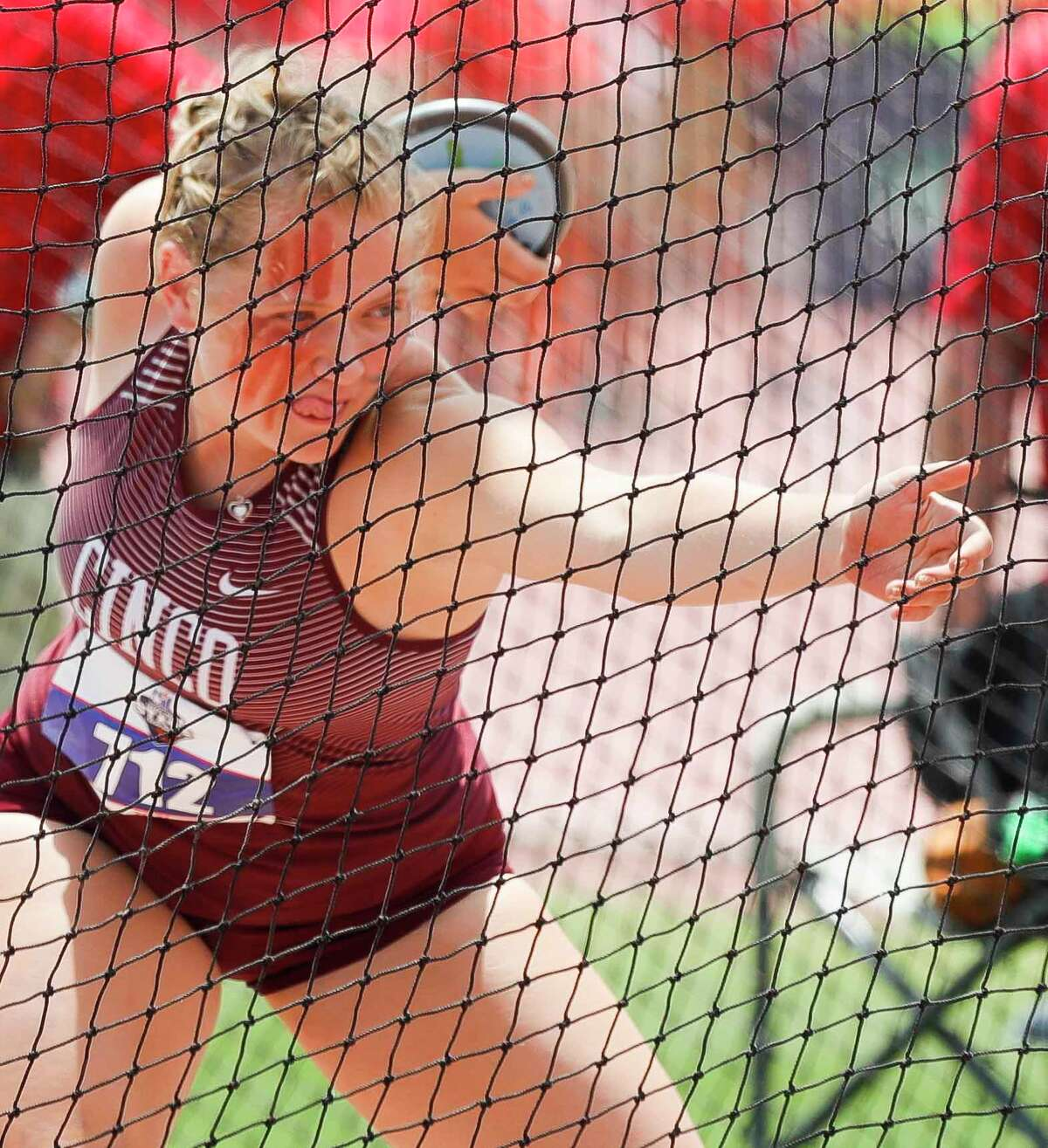 Amelia Flynt of Katy Cinco Ranch competes in the girls discus during the Class 6A UIL Track and Field Championships at Mike A. Myers Stadium, Saturday, May 8, 2021, in Austin.