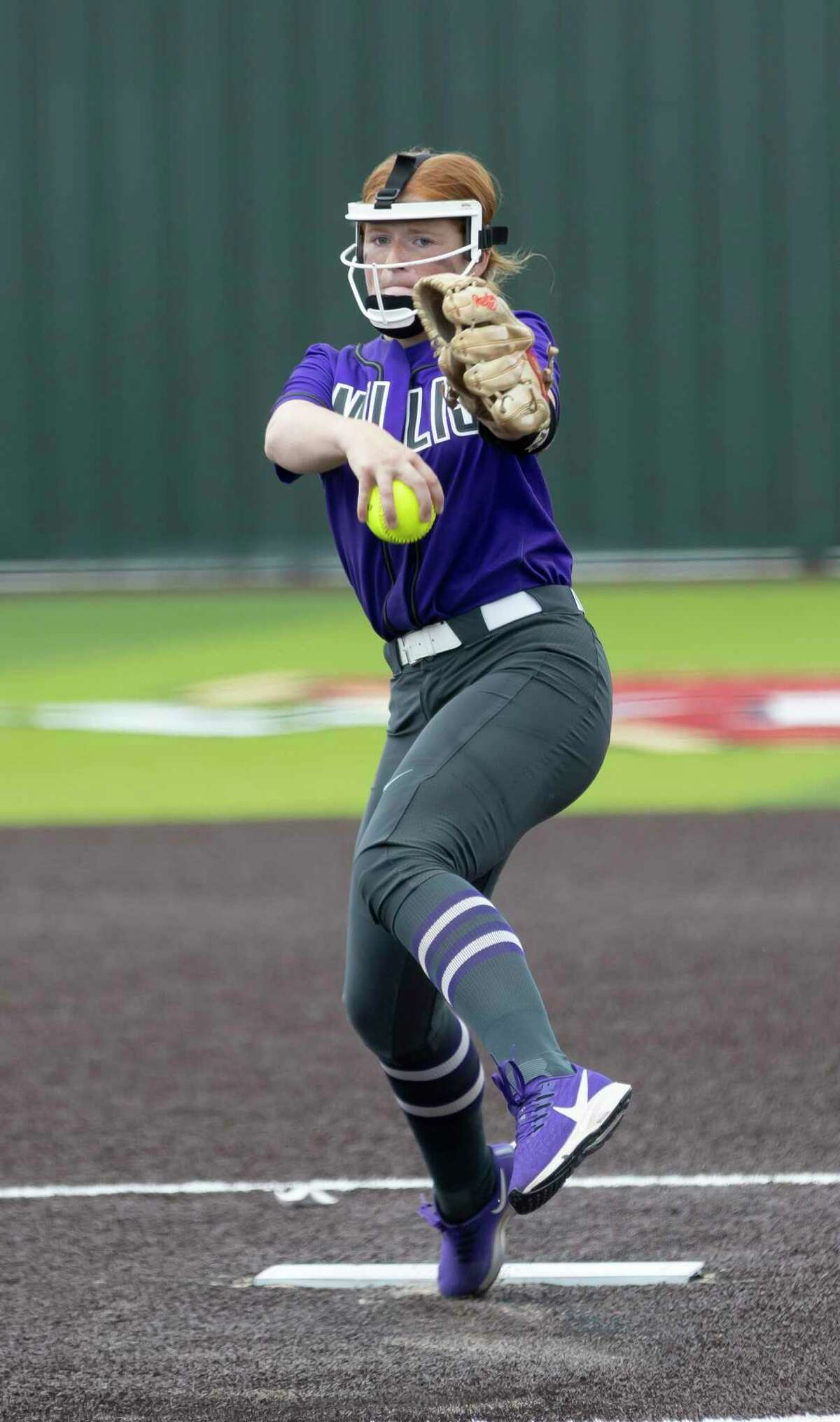 Willis starting pitcher Kynlei Chapman (11) throws during the first inning in Game 2 of a Region II-6A area playoff series against Cypress Woods at Cypress Woods High School, Saturday, May 8, 2021, in Cypress.