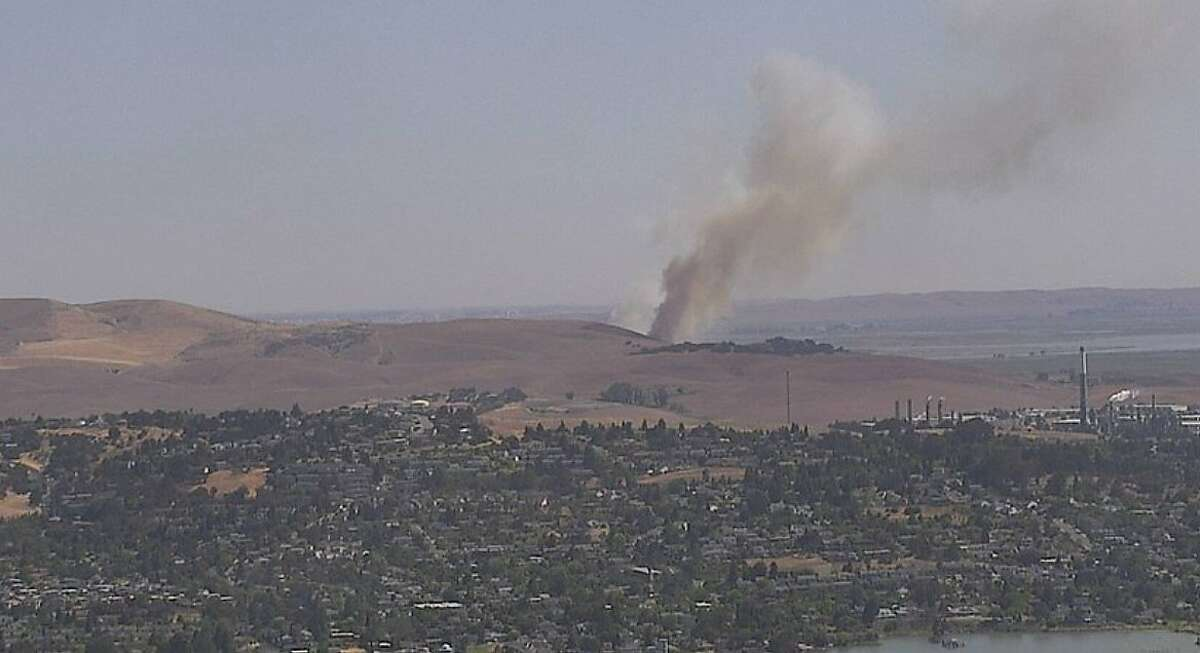 The National Weather Service predicted that smoke from a southern Solano County fire could drift over Benicia due to northerly winds.