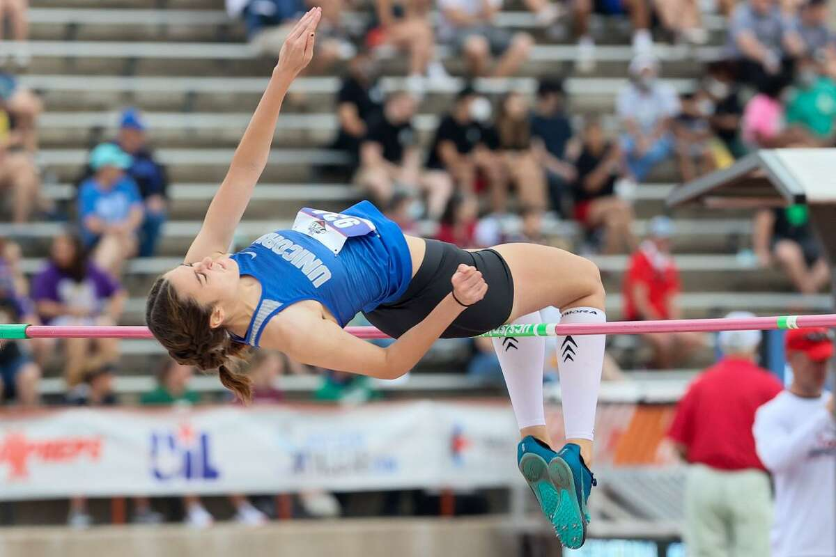 New Braunfels' Abigail Morrow clears 5-08 to take second place in the 6A girls high jump in the UIL state track and field championships at Mike A. Myers Stadium in Austin on Saturday, May 8, 2021.