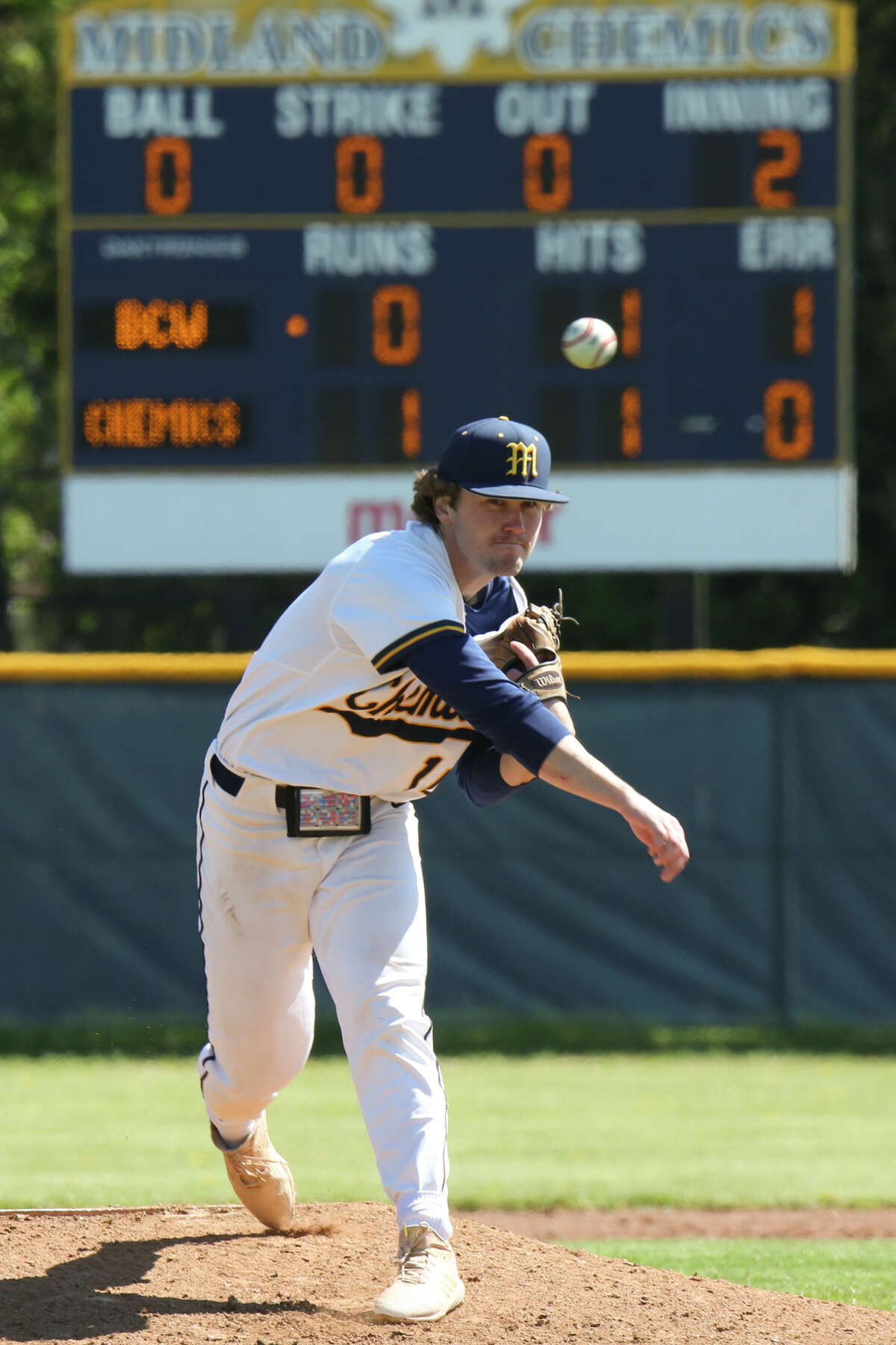 Midland High's Al Money pitches the ball during a game against Bay City Western Saturday, May 8, 2021 at Midland High School. (Doug Julian/for the Daily News)