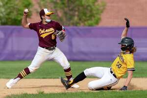Colonie shortstop Dan Barbero tries to turn a double play in front of sliding Ballston Spa baserunner Damon Fernandes during a game at Ballston Spa High School on Saturday, May 8, 2021. (Jim Franco/Special to the Times Union)