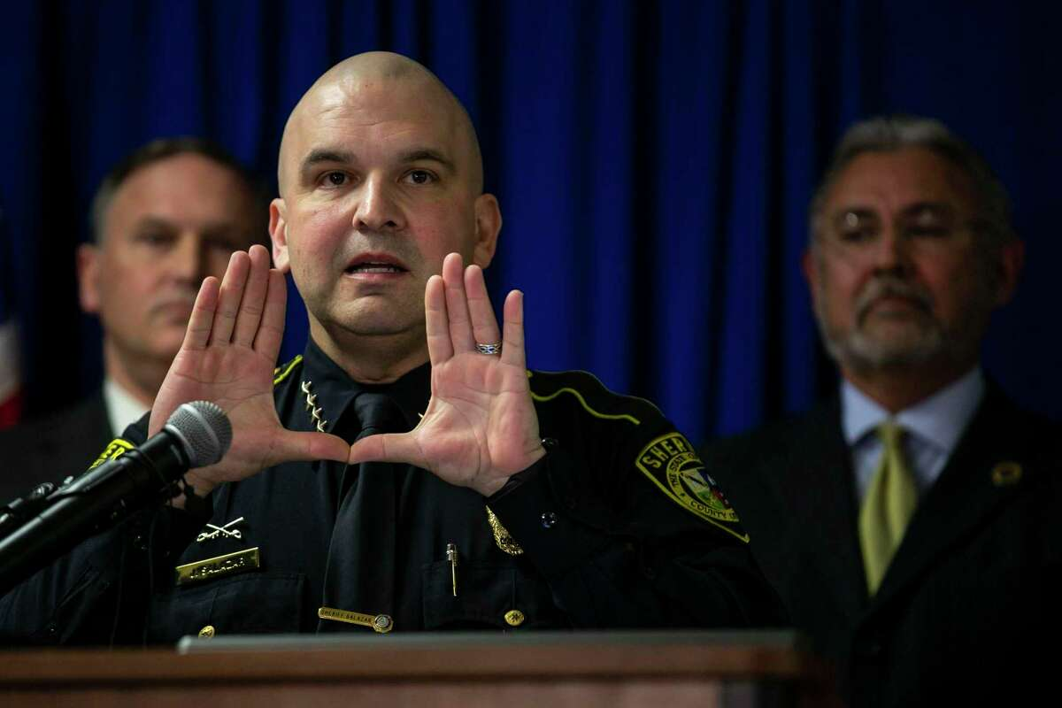 Bexar County Sheriff Javier Salazar, shown in this file photo from February 2020, is being sued by a former San Antonio couple who were no-billed by a Bexar County grand jury last year on attempted kidnapping charges. They accuse the sheriff of defamation and slander over social media postings.