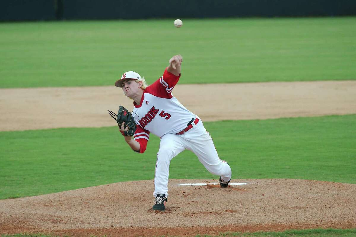 Clear Brook's Cody Myers (5) pitches against Pearland Saturday at Clear Brook High School.