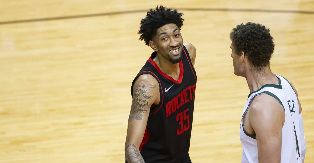 Houston Rockets center Christian Wood (35) laughs after hitting a long 3-point shot during the third quarter of an NBA game between the Houston Rockets and Milwaukee Bucks on Thursday, April 29, 2021, at Toyota Center in Houston.