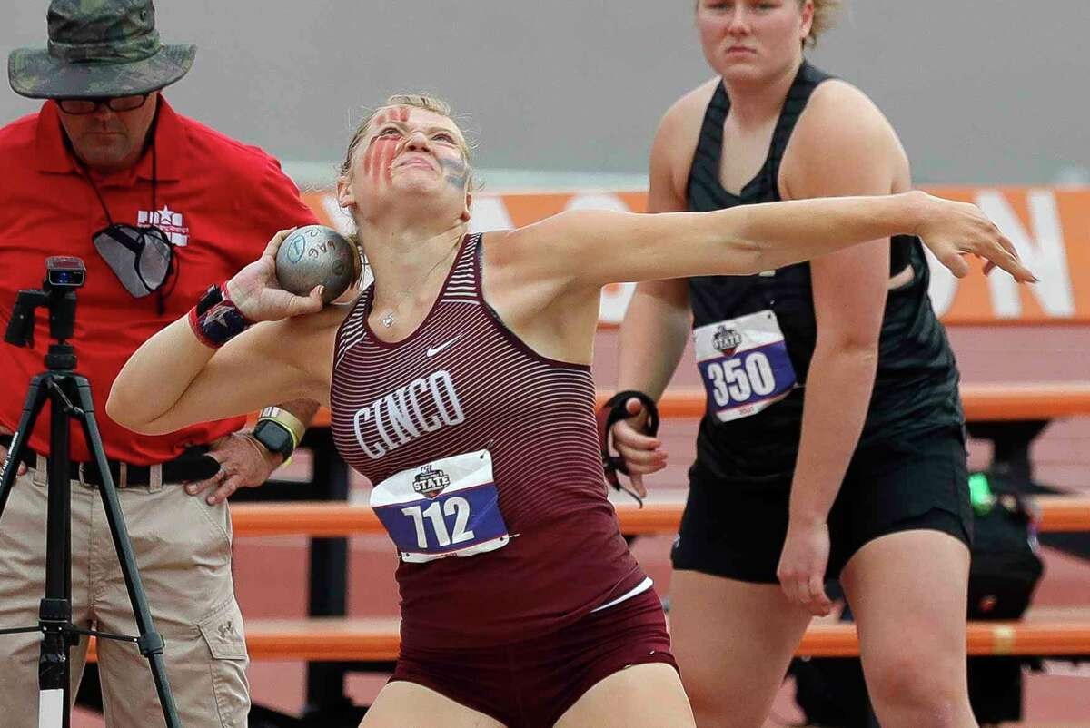 Amelia Flynt of Katy Cinco Ranch competes in the girls shot put during the Class 6A UIL Track and Field Championships at Mike A. Myers Stadium, Saturday, May 8, 2021, in Austin.